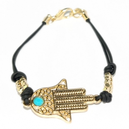 Hamsa Golden tone Black Chain Friendship Bracelet